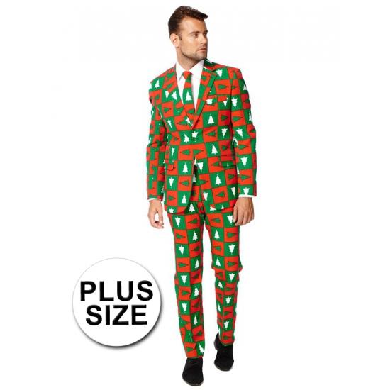Grote maat heren kostuum met kerstbomen print