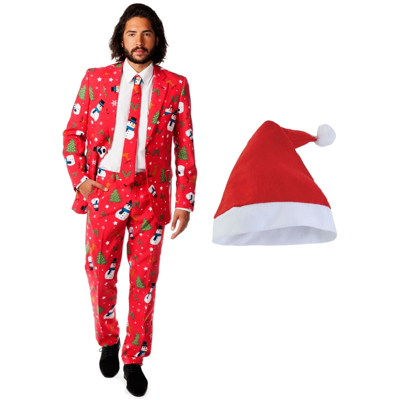 Heren opposuits kerst kostuum rood met kerstmuts maat 48 m