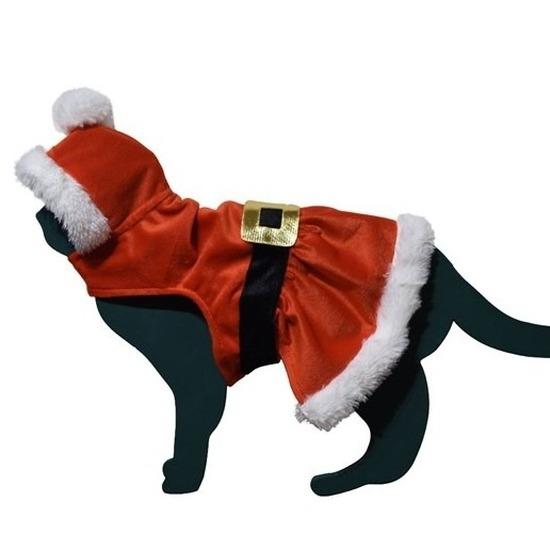 Kerstman pakje kostuum voor kat poes